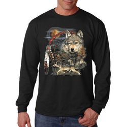 Plus Size Clothing, Long Sleeve Native Wolf T Shirts - MSC Distributors