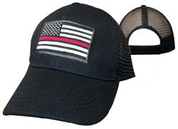 Hats Caps Firefighter Wholesale Drop Shipping - Firefighter Hats - CAP650M Red Line Mesh.