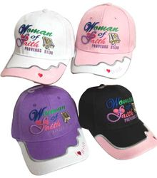 Christian Hats Woman of Faith Christian Hat Ball Cap Pink Purple I Love Jesus Proverbs 31:30 - CAP808