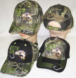 Wholesale Bite Me Hook Trout Fishing Camouflage Black Bill Embroidered Cap Hat - MSC Distributors