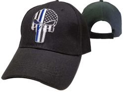 Thin Blue Line Punisher Skull American Flag Hats - CAP991C