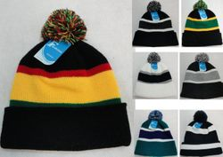 MSC Distributors : Cheap Bulk Winter Gloves and Hats - WN1000. Double-Layer Knitted Hat with PomPom Hat--Assorted Colors