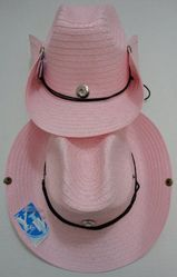 Wholesale T Shirts Hats Products for Resale Online - HT303P. Straw Cowboy Hat with Jewel-Pink Only