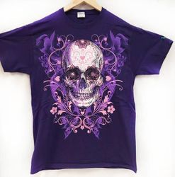 Plus Size Clothing, Wholesale Biker Apparel T Shirts USA Bulk Suppliers - TShirtC-T22. Wholesale Purple T Shirt Large Print Sugar Skull Assorted