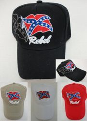 Hats Wholesale Distributor - HT75. Rebel Flag Hat-Shadow