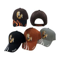 Equestrian Ball Caps Hats Women's Horse Southern Texas Wholesale Bulk Supplier - HT4111. Double Horse Hat [HorsenWavy Line Accent on Bill]