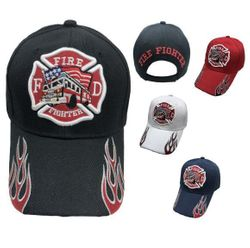 Firefighter Hats and Caps Wholesale - HT413. Firefighter Maltese Cross Fire Truck Hat [Flames on Bill]