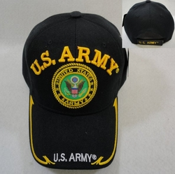 Hats Caps Wholesale Bulk Supplier - Military Patriotic Veteran - HT3845. Licensed US Army [Seal] Ball Cap Black Only