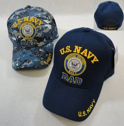 Hats Caps Wholesale Bulk Supplier - Military Patriotic Veteran - HT4773. Licensed US Navy DAD Ball Cap-Assorted Colors