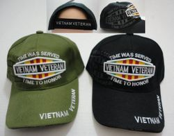 Wholesale USA American Flag Baseball Caps and Patriotic Hats Bulk Sale Suppliers - HT691. Vietnam Veteran Hat Shadow [TIME WAS SERVED-TIME TO HONOR]