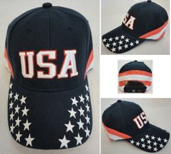USA Suppliers Wholesale Patriotic American Flag Bald Eagle Baseball Hats - HT771. USA Ball Cap [Stars on Bill Stripes Around]