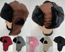 MSC Distributors : Winter Hats Wholesale - WN134. Aviator Hat with Fur Trim--Suede