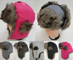 Best Selling USA MSC Distributors : Winter Hats Wholesale - WN218. Aviator Hat with Fur Trim--Solid Color