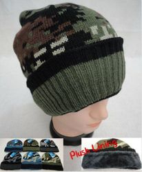 Knitted Winter Hat [Assorted Camo] Plush Lining Hats Caps - WN914.