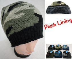 Knitted Winter Beanie [Assorted Camo] Plush Lining Hats Caps - WN915
