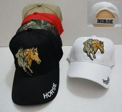 Equestrian Ball Caps Hats Women's Horse Southern Texas Wholesale Bulk Supplier - HT693. Two Horses Hat [HORSE on Bill]