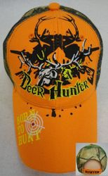 Skull Hats Wholesale HT559. Deer Hunter with Deer Skull [BORN TO HUNT on Bill]