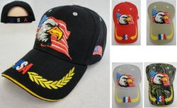 USA Suppliers Wholesale Patriotic American Flag Bald Eagle Baseball Hats - HT786. Eagle with Flag Hat [USA Wreath on Bill]