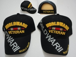 Hats Caps Wholesale Bulk Supplier - Military Patriotic Veteran - HT359. World War II Veteran Hat [Lg Letters]