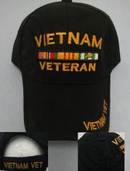 Wholesale USA American Flag Baseball Caps and Patriotic Hats Bulk Sale Suppliers - HT101. Vietnam Veteran Hat-All Black