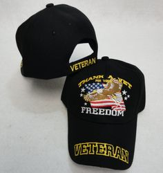Wholesale Military Patriotic Veteran Hats Caps Bulk Suppliers - HT102. THANK A VET FOR YOUR FREEDOM Ball Cap