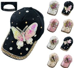 Wholesale - HT1105. Ladies Bling Hat with Sequin Butterfly Dragonfly