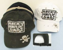 Skull Hats Wholesale HT130. Cloth Rocky Jean Hat with Skull