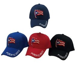 Bulk Men's Apparel Baseball Caps Suppliers - HT3118. Puerto Rico Flag Ball Cap [Puerto Rico on Bill]