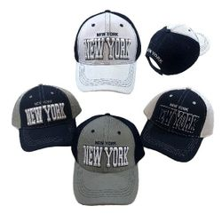 Party Toys Wholesale Hats Merchandise Flea Market Products For Resale -HT4107. Air Mesh Back Solid Front Ball Cap [NEW YORK]