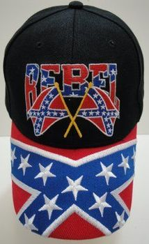 Wholesale Patriotic American Flag Bald Eagle Baseball Hats - HT424. Rebel Flag Hat-Rebel on the Bill