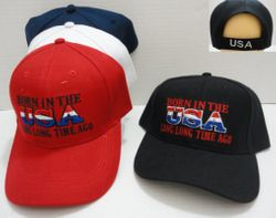 Wholesale USA American Flag Baseball Caps and Patriotic Hats Bulk Sale Suppliers - HT702. Born in the USA [Long Long Time Ago] Hat