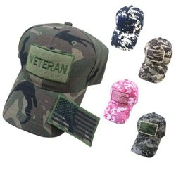 Hunting Hats for Men Wholesale - HT479. 100% Cotton Camo Hat with Detachable Flag Patch [VETERAN]