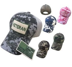 Hunting Hats for Men Wholesale - HT481. 100% Cotton Camo Mesh Hat with Detachable Flag Patch [VETERAN]