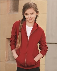 T Shirts Wholesale Bulk Supplier - Blank - Jerzees - NuBlend Youth Full-Zip Hooded Sweatshirt - 993BR