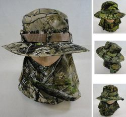 Men's Hats Store Cheap Wholesale Cool Village Bulk Suppliers - HT1577. Floppy Boonie Hat [Hardwood Camo] Snap-Up Face & Neck Cover