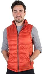 Men's Wholesale Clothing Distributor Store - 4171N-RR2019V-Orange-Men's Quilted Vest with Faux Fur Body Lining and