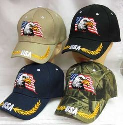Best Selling USA Patriotic Wholesale Military Hats Bulk Suppliers - CAP676 Eagle USA Flag
