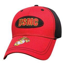 Military Caps And Hats Cheap Wholesale Online Drop Shipping - HT0466. Licensed Red Black USMC Patch Hat [Globe & Anchor]