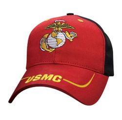 Military Caps And Hats Cheap Wholesale Online Drop Shipping - HT3859. Licensed Red Black Globe & Anchor Hat [USMC on Bill]