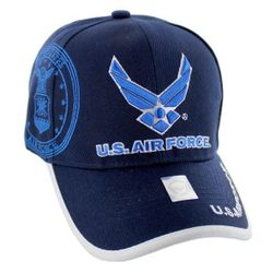 Military Caps And Hats Cheap Wholesale Online Drop Shipping - HT5384-3. Licensed Blue US Air Force (Wing Logo) Hat [Shadow Seal]