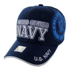 Military Caps And Hats Cheap Wholesale Online Drop Shipping - HT6136-3. Licensed Blue UNITED STATES NAVY Hat [Shadow Seal]