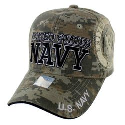 Military Caps And Hats Cheap Wholesale Online Drop Shipping - HT6136-4. Licensed Camo UNITED STATES NAVY Hat [Shadow Seal]