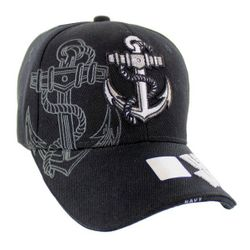 Military Caps And Hats Cheap Wholesale Online Drop Shipping - HT6136-5. Licensed Black Anchor Hat w Shadow [US Navy on Bill]