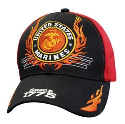 Wholesale T Shirts Hats Caps Military Marine Corps USMC Clothing - HT7999. Licensed Black Red US Marines Hat w Flames (Since 1775)