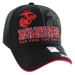 Military Caps And Hats Cheap Wholesale Online Drop Shipping - HT9145-3. Licensed Marines Hat [The Few. The Proud.] Black