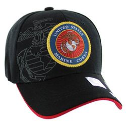 Military Caps And Hats Cheap Wholesale Online Drop Shipping - HT9145-5. Licensed Black US Marine Corps Seal [Globe&Anchor Shadow]