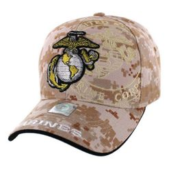 Best Selling USA Wholesale US Marine Corps Hats for Men - HT9145-8. Licensed Globe & Anchor Hat with Shadow [Camo]