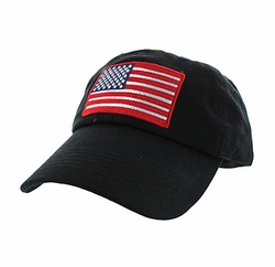 Military Caps, Patriotic Hats, Wholesale Bulk Supplier - BM691-01 American USA Flag Cotton Buckle Cap (Solid Black)