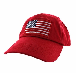 Military Caps, Patriotic Hats, Wholesale Bulk Supplier - BM691-03 American USA Flag Cotton Buckle Cap (Solid Red)