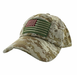 Military Caps, Patriotic Hats, Wholesale Bulk Supplier - BM691-07 USA Flag Cotton Buckle Cap (Solid Digital Camo)